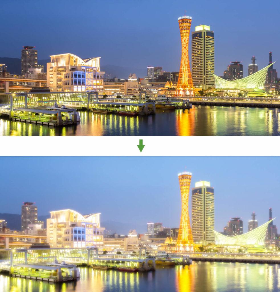 風景写真に適用。街が輝きだします。