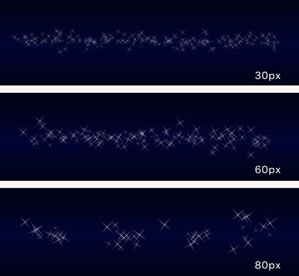 小・中・大の3種類の大きさの線を引く
