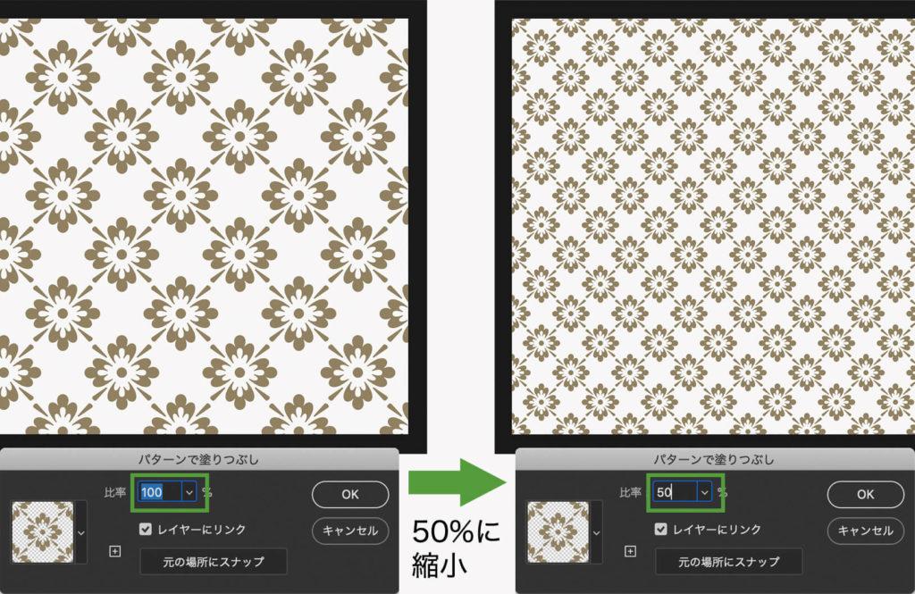 パターンの比率を調節して、パターンのサイズを変更する