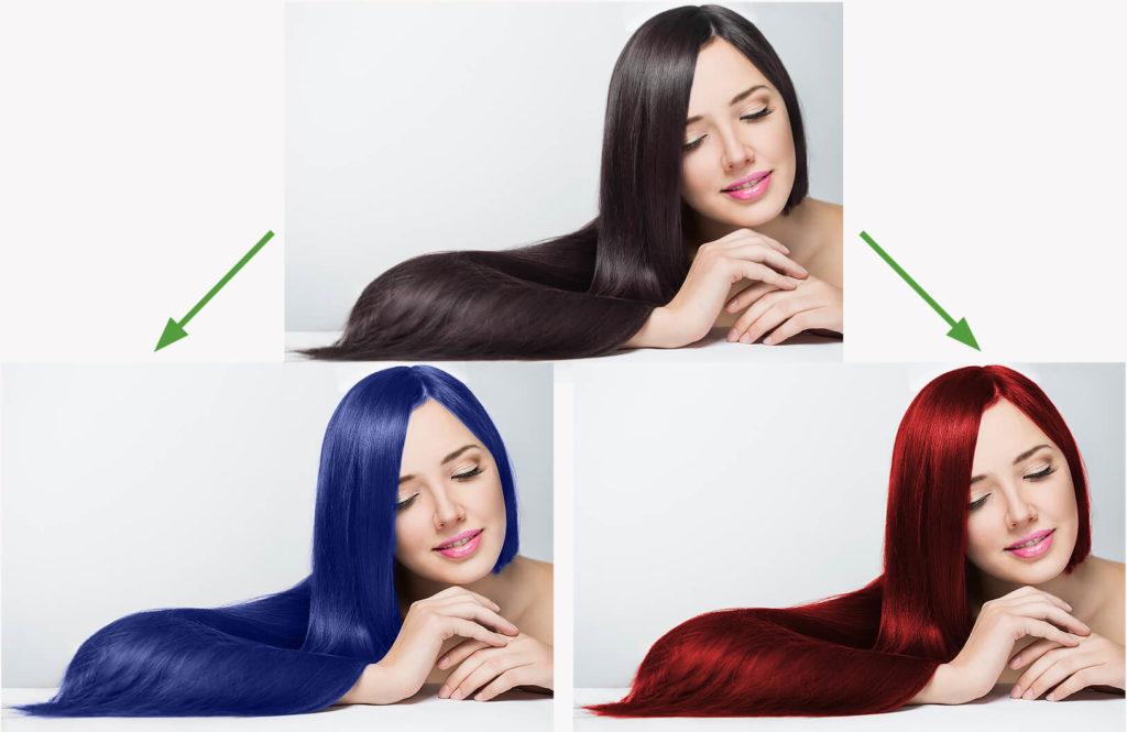 女性の髪の色を変更する
