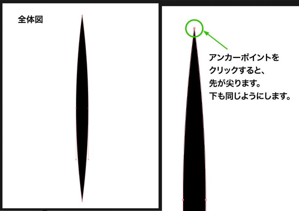 上端と下端のアンカーポイントをクリックして、両先端を尖った形にする