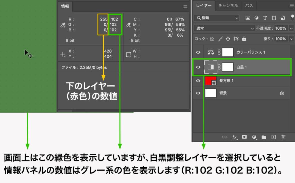 画面上はこの緑色を表示していますが、白黒調整レイヤーを選択していると情報パネルの数値はグレー系の色を表示します(R:102 G:102 B:102)。
