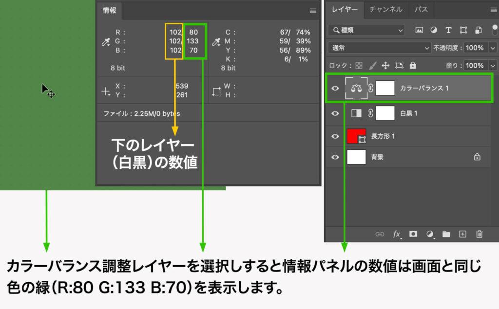 カラーバランス調整レイヤーを選択しすると情報パネルの数値は画面と同じ色の緑(R:80 G:133 B:70)を表示します。
