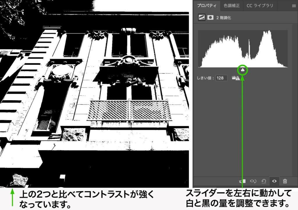 """調整レイヤー(または色調補正)の""""2階調化""""を使って白黒に変換"""